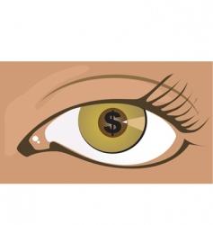 dollar and eye vector image vector image