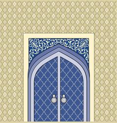 Door in muslim oriental house facade arabic vector