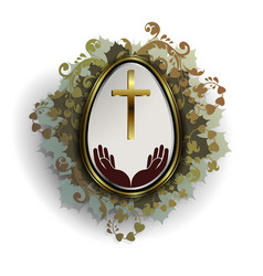 easter egg in gold frame with a wreath of leaves vector image vector image