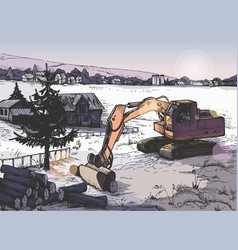 Farm rural landscape background in vector