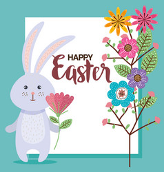 Flowers happy easter and rabbit season vector