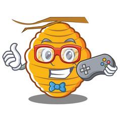 Gamer bee hive character cartoon vector