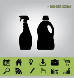 Household chemical bottles sign black vector