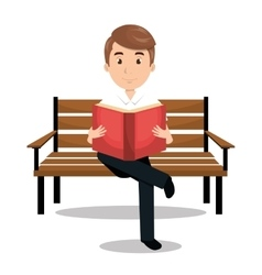Man reading textbook icon vector