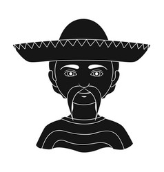 mexicanhuman race single icon in black style vector image vector image
