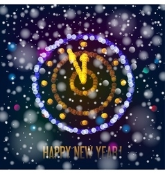 New Year clock in bokeh lights vector image
