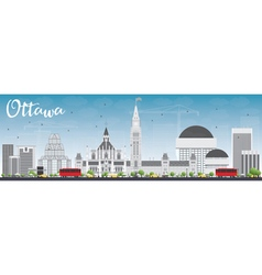Ottawa skyline with gray buildings and blue sky vector