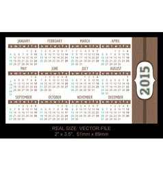 Pocket Calendar 2015 start on Sunday vector image vector image