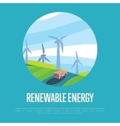 Renewable energy banner wind power generation vector