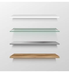 Set of Empty Wood Glass Metal Plastic Shelves vector image vector image