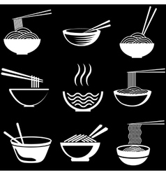 Set of noodles vector