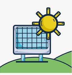 Solar energy in the mountain and sun vector