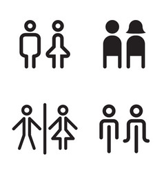 toilet restroom icons great for any use vector image