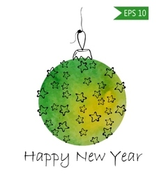 Watercolor christmas bauble with hand-drawn vector image