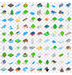 100 elements icons set isometric 3d style vector