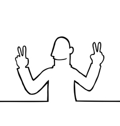 Man showing peace sign vector