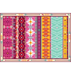 Seamless colorful aztec carpet with birds vector