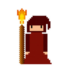 sorcerer monk video game pixelated character vector image
