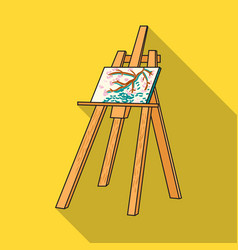 Easel with masterpiece icon in flat style isolated vector