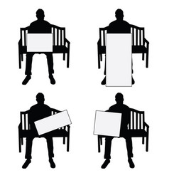 Man silhouette siting on chair with card set on vector