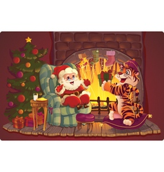 Santa claus and tiger vector