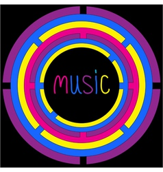 Colorful circles and word music card vector