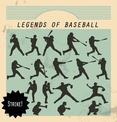 Ballplayer - silhouettes of baseball players on vector