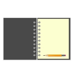 Blank grey cover notebook and pencil vector