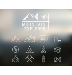 Adventure badge and icons set vector