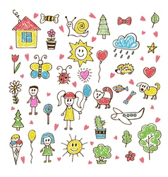 Doodle children drawing hand drawn set of drawings vector