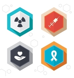Medicine icons syringe life radiation vector