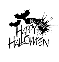 Halloween text on flying bat silhouette vector