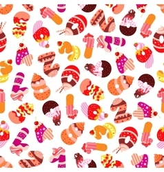 Cakes and cookies numbers seamless pattern vector image