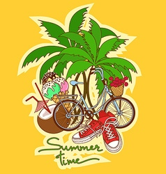 Summer background with isolated icons vector
