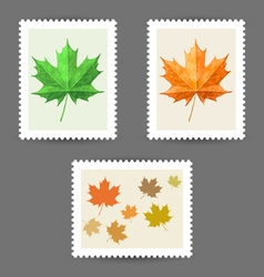 Postage stamps with maple leaf icons vector