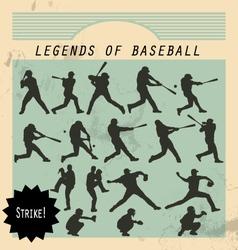 Ballplayer - silhouettes of baseball players on vector image