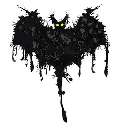 Bat ink happy halloween vector