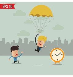 Business man drop on parachute and follow the vector image