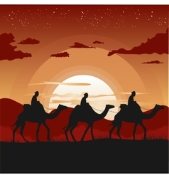 Camel caravan traveling in desert at sunset vector
