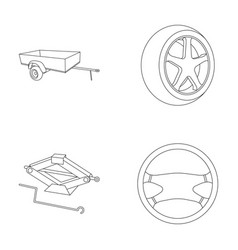 caravan wheel with tire cover mechanical jack vector image