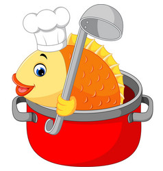 cartoon funny fish being cooked in a pan vector image vector image