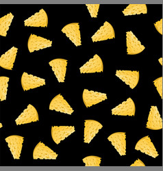 Cheese slices seamless pattern vector
