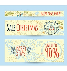 Christmas sale design template web banner vector image