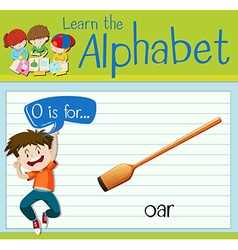 Flashcard alphabet o is for oar vector