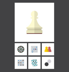 Flat icon play set of arrow pawn multiplayer and vector
