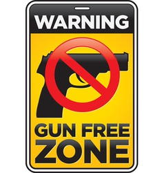 Gun free zone sign vector image