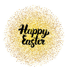 Happy easter lettering over gold vector