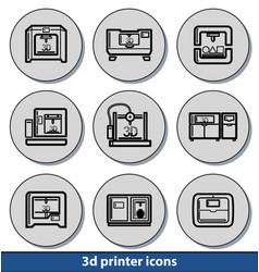light 3d printer icons vector image