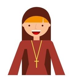 Nun woman character isolated icon vector