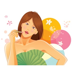 pretty girl using lipstick vector image vector image